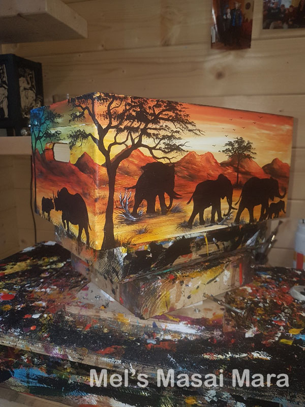 Hand painted african scene wooden keepsake box
