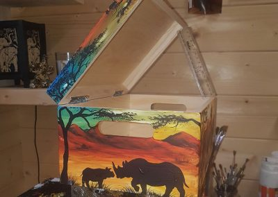 hand painted keepsake wooden box