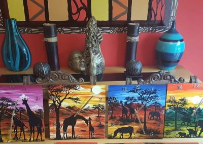 Hand painted African art wall clocks