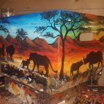 Hand painted african scene wooden keepsake box
