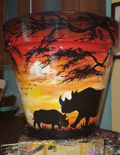 Rhino flower pot. Hand painted flower pots with African animals and scenes